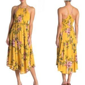 Yellow Floral Smocked Asymmetrical Maxi Dress